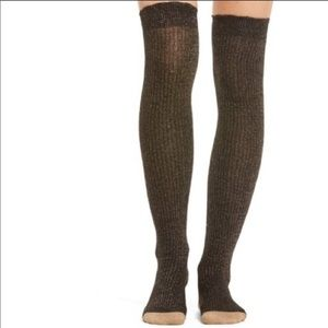 Kate Spade over the knee gold glitter sock